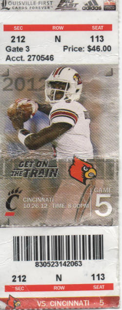 Cincinnati vs Louisville 102612 Ticket