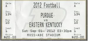 East KY vs Purdue 09112012 Ticket