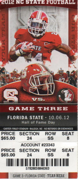 Fla State vs NC State 10062012 Ticket