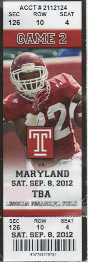 Maryland vs Temple 09082012 ticket