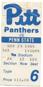 Penn State vs Pitt 11231985 Ticket