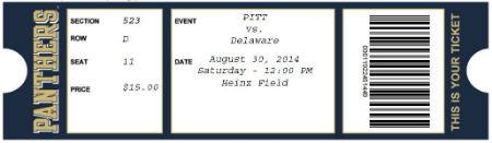 Pitt UD Ticket
