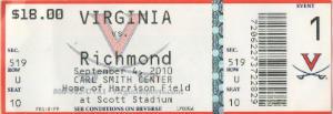 Richmond at UVA 09042010 Ticket