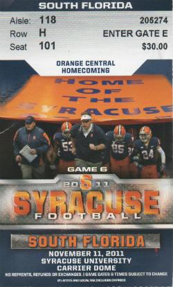 So Fla vs Syracuse 11112011 Ticket