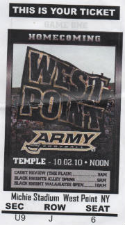 Temple vs Army 10022010 Ticket