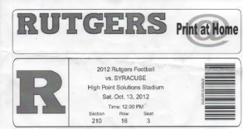 Ticket Syracuse vs Rutgers 10132012