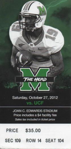 UCF vs Marshall 10272012 Ticket