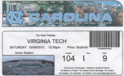 Va Tech vs UNC 10062012 Ticket