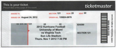 VaTech Miami Fla Tickets