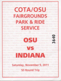 Indiana vs OSU Lot Ticket 11052011
