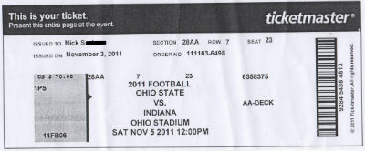 Indiana vs Ohio State Ticket 11052011